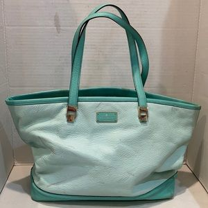 Kate Spade Turquoise Pebbled Leather Tote Bag